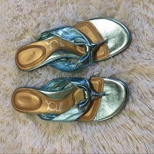 YOU by CROCS Shoes - YOU by CROCS Metallic Blue Flip Flop Size 9